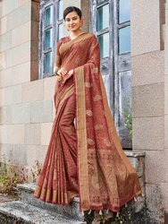 Brown Banarasi Jute Linen Saree  With Blouse Piece