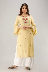 Pale Yellow Rayon Embroidered Kurti With Gota Work