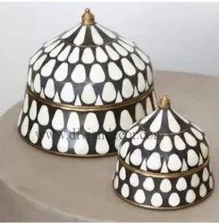 Monochrome Resin and Brass Suri Boxes