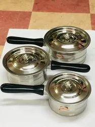 Silver With Lid Sauce Pan for Domestic, Packaging Type: Bundle