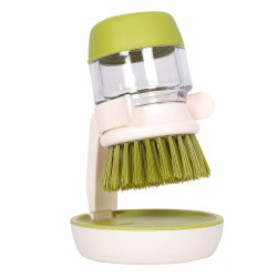 Plastic Cleaning Brush With Liquid Soap Dispenser