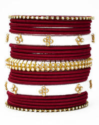 White and Maroon Silk Thread Bangle