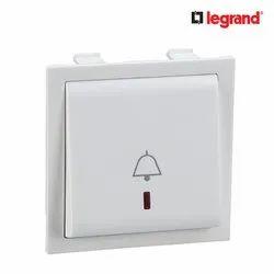 6 Amp White Legrand Britzy 6A 2 Module Indicator Bell Push Switch