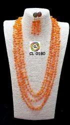 Semi Precious Uncut Multilayer Orange Color Necklace