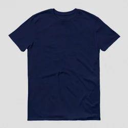 Men Navy Blue-Plain/Basic Round Neck T-Shirt
