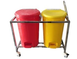 Bio medical waste trolley 55 LTR two bin