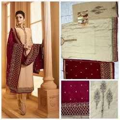 Semi-Stitched Embroidered Heavy Georgette Satin Salwar Suit, Size: Max 56 Inch