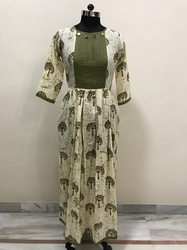 Green Cotton Printed Kurti