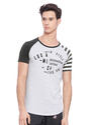 Mens Half Sleeves Printed Round Neck Cotton T Shirt, Color : Greymelange