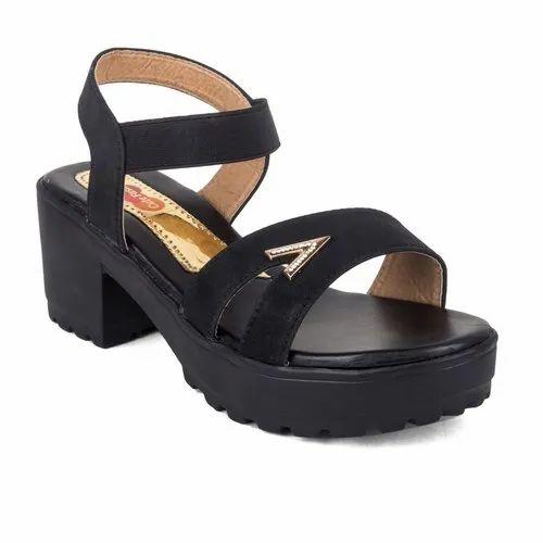 Cute Fashion Ladies Black Block Heel
