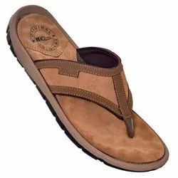 iClub Brown Men's Leather Slipper, Size: 6-10