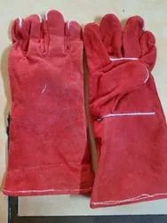 Red Leather Hand Gloves, For Industrial, Size: Medium