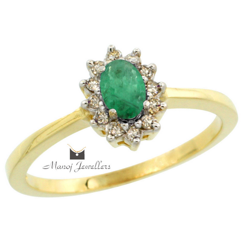 7f539fdc04a4e Gold Ring Female Modish With Green Stone - Manoj Jewellers ...