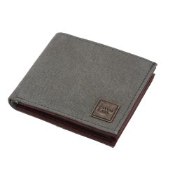 Canvas & Awl Men''s RFID Bifold Canvas Wallet with Genuine Leather Trim 15 Card Slot OLW25A