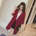 Polyester Half Sleeve Casual Midi-Long Coat Blazer Jacket - Red Wine