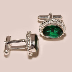 Green Gemstone Sterling Silver Cufflinks