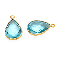 Pear Shape Light Blue Topaz One Bail Loop Jewelry Connector Gemstone Gold Plated