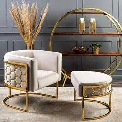 Gaur Steel Modern SS Sofa Chair, For Home, Back Style: Cushion