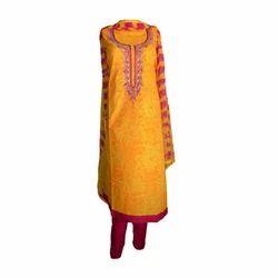 Orange Chanderi, Chiffon Handmade Fancy Salwar Kurti