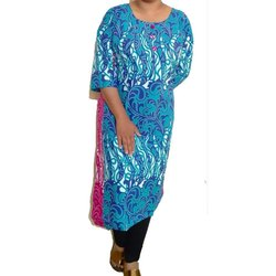 Straight 3/4th Sleeve Ladies Printed Jaipuri Cotton Kurti