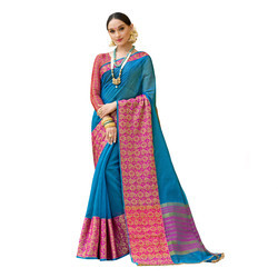 Blue & Pink Colored Festive Wear Cotton Silk Saree