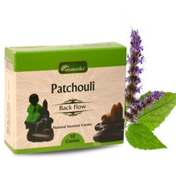 Aromatika Patchouli Backflow Natural Incense 120 Cones in Box of 12 Packs