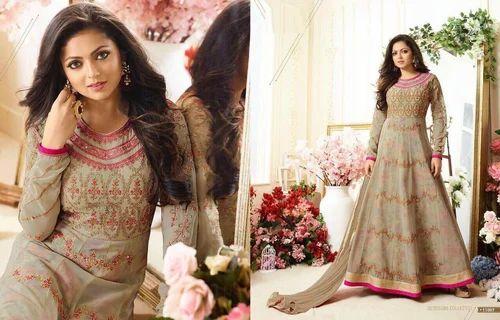 Beige Party Wear Wedding Wear Unstitched Winter Salwar Kameez