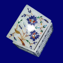 Handcrafted Marble Box with Floral Carving Box