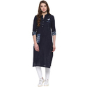 Cotton Blue 3/4th Sleeve Embroidered Kurti, Size: Xl