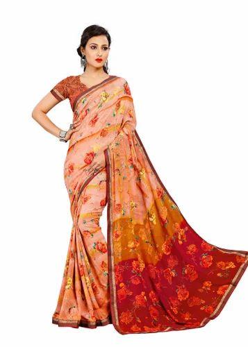 61461c63e4 Designer Crepe Printed Saree With Blouse Piece, Rs 1520 /piece | ID ...