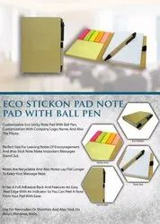 Eco Stickon Pad Note Pad With Ball Pen - Giftana