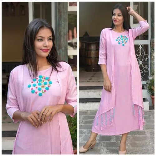 Rayon Slab With Embroidery Kurti