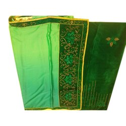 Party Wear Embroidered Ladies Designer Chiffon Saree, 6 m (with blouse piece)