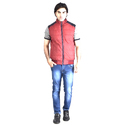 Red And Blue Sleeveless Reversible Jacket, Size: Large