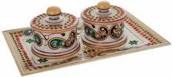 Marble Dry Fruit Serving Bowl Set with Tray