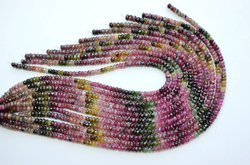 15 Inch 5-5.5mm 100% Natural Multi Tourmaline Faceted Rondelle Beads