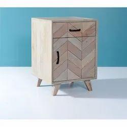 Wooden Zigzag Design Accent Cabinet