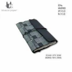 Designer Grey Coptic Bound Handmade Paper Book With Geometric Sky Blue