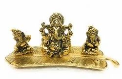 Gold Plated Musical Leaf Ganesha Gift Item