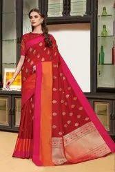 Zari Cotton Silk Saree, With Blouse Piece