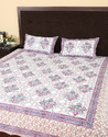 Hand Block Print White And Red King Size Bed Sheets