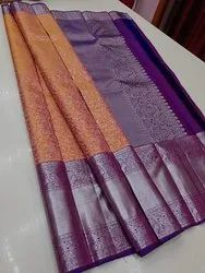 Bridal Wear Indian Ethnic Designer Kanchipuram Silk Silver Zari Brocade Saree