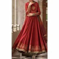 Cotton Maroon Ladies Anarkali Suit, Machine wash
