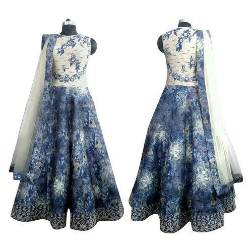 White And Blue Sleevless Ladies Stylish Party Wear Dress