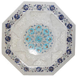White Inlay Table, Inlay Octagonal  Coffee Tops