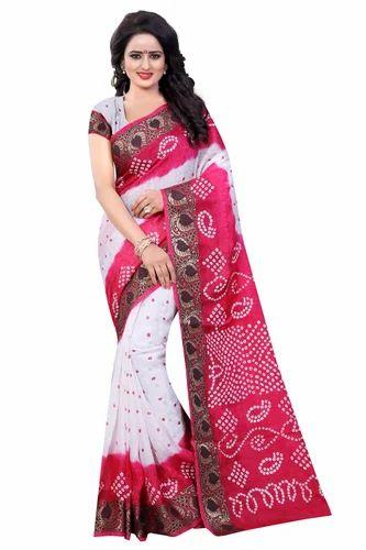189da1d1c3091a Multicolor Cotton Panetar Bandhani Saree, Rs 1099 /piece, Divine ...