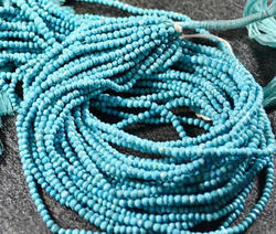 Round Sky Natural Turquoise Gemstone Rondelle Beads, Size: 3-4mm