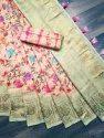 Hd Flower Print Jacquard Saree Rich Pallu With Digital Print Saree