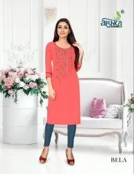 Bela-Alishka Fashion Rayon Embroidery Work Latest Kurtis