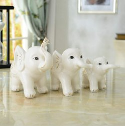 White Bone China Cute Elephant Family Idol